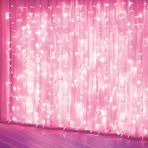 Curtain Lights, Pink 8 Modes LED String Lights for Garden,...
