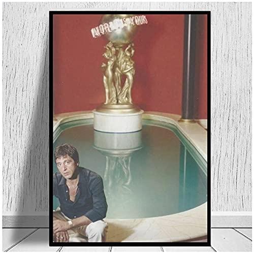 JFGJF Scarface - The World Is Yours Canvas Prints Poster and Prints Arte de la Pared Cuadros de Pintura Moderna para la decoración del hogar de la Sala de estar-24X36 Pulgadas Sin Marco