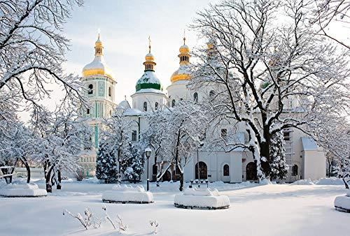 """MX-XXUOUO Temples Winter Ukraine Kiev Cathedral Santa Sofía, 1000 Piezas de Rompecabezas de madera-29.5""""x19.7"""""""