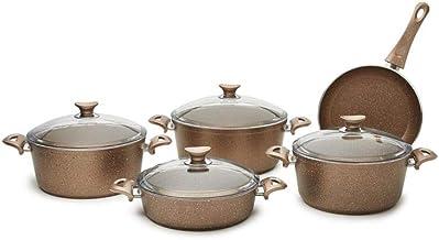 Opalina Granite Coated Cookware Set, Brown, Op-Grn-010, 9Pcs