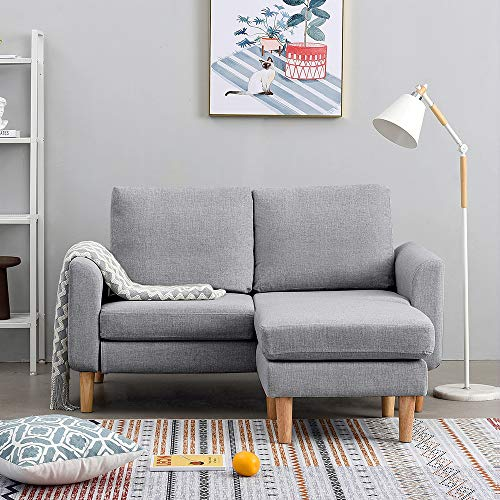 Panana 2 Seater Sofa Linen Fabric L Shaped Sofa with Footstool Corner Couch Lounge Sofa Left or Right Chaise Settee for Living Room (Grey, 2 Seater with foostool)
