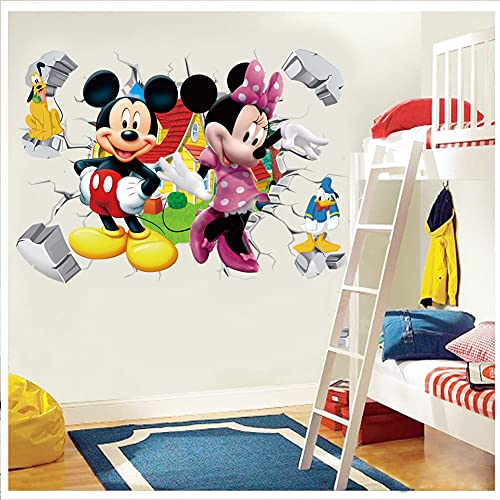 Mickey Mouse Wall Decal Cartoon Mickey and Minnie Wall Decor for Kids Boys Nursery Room Bedroom Playroom ( 15.7 x 23.6 Inches) , Removable