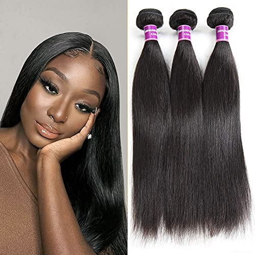 """ZSF Straight Human Hair Bundles Virgin Hair for Black Women 3Pcs 100% Human Hair Extension 14""""16""""18"""" Thick And Soft Hair Double Weft Natural Black Color 12a Grade Hair No Smell For Women"""