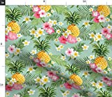 Spoonflower Fabric - Tropical, Pineapples, Hawaiian, Fruit, Island, Hibiscus, Plumeria, Printed on Petal Signature Cotton Fabric by The Yard - Sewing Quilting Apparel Crafts Decor