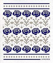 Trendy Tripper Swedish Dishcloth Reusable + Eco-Friendly Roses Design (Blue + Grey)