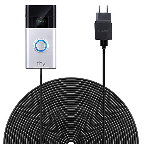 Ring-video-deurbel voeding BECEMURU Quick Charge 3.0 & acculader met 19,6 ft / 6 m weerbestendige kabel voor ring-video-deurbel (zwart) Ring Video Doorbell