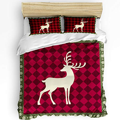 Edwiinsa Reindeer Black Red Plaid 3-Piece Bedding Set Cover Twin Size, Snowflake Frame Comfortable Hidden Zipper Free-Wrinkle Duvet Cover