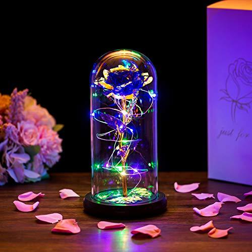 Glasseam La Bella Y La Bestia Rose En Cúpula De Cristal Luces...