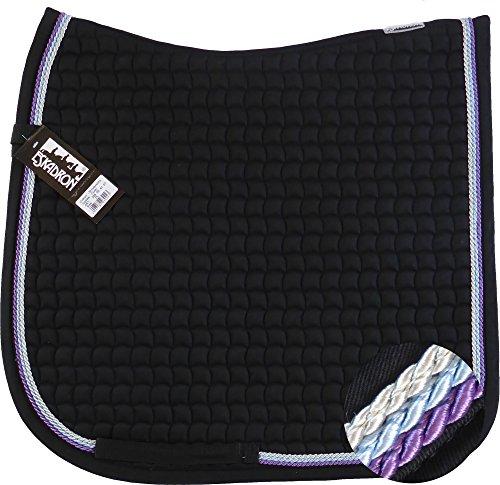 ESKADRON Cotton Schabracke black, 3fach Kordel lavender,hellblau,silberfarben, Farbe:black, Größe:Dressur