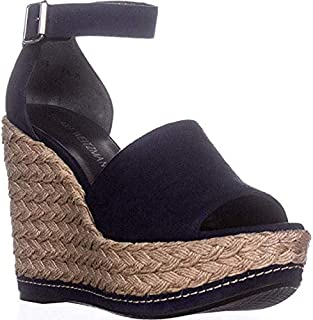 Sohojute Platform Wedge Sandals Black Suede US 9.5