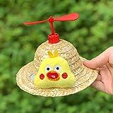 中小子犬に適した犬わら帽子日帽子パーティー帽子犬回転可能な竹トンボの帽子の猫の犬,赤,S