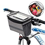 WOTOW Bicycle Handlebar Bag, Bike Front Basket Thermal Insulation Storage Pack Frame Tube Bag with Touch Screen Phone Holder Reflective Stripe Two Mesh Pockets for Cycling Outdoor Activity 2.75L