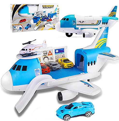 AISFA Airplane Toys Set with Transport Cargo and 4pcs Vehicle Car Toy, Parking Scene...