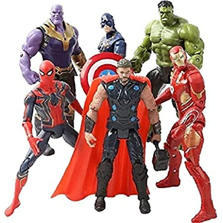 6 PCS Superhero Adventures Ultimate Super Hero Set 6 inch Superhero Action Figures Hero Suit Cake Topper Children's Toys