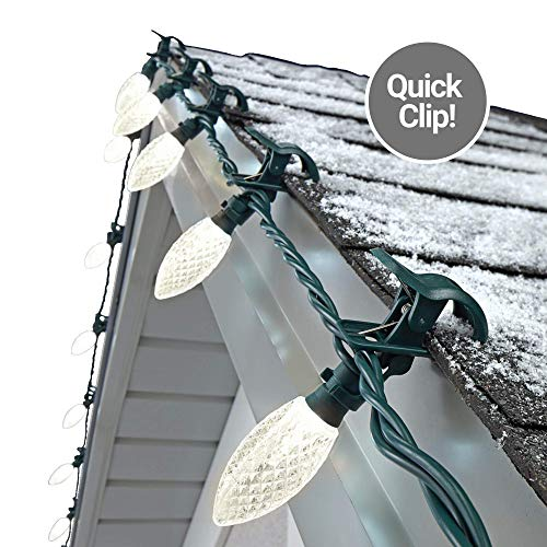 NOMA C9 LED Quick Clip Christmas Lights | Simple Built-in Clip-On Outdoor String Lights | Clear Warm White Bulbs | UL Certified | 25 Light Set | 16.8 Foot Strand