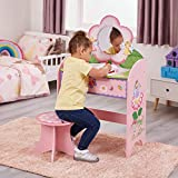 Liberty House Toys Fairy Butterfly Dressing Table and Stool Set, MDF, Pink, Green, White, Yellow, 94cm H x 58cm W x 33cm D