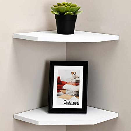WELLAND 12-Inch Floating Corner Shelves Set of 2, Wall Mounted Storage Shelf with White Finish for Bedroom, Living Room, Bathroom, Display Shelf for Small Plant, Photo Frame, Toys and More