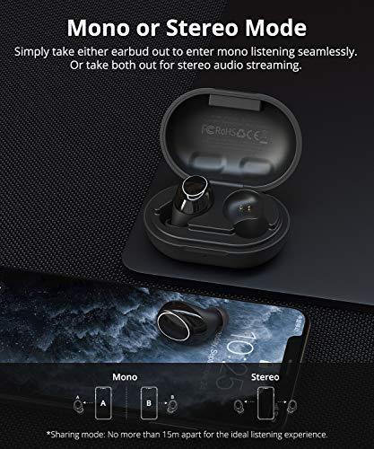 Tronsmart Onyx Neo Auriculares Inalámbrico Bluetooth 5.0, Mini TWS In-Ear Earbuds, Sonido Estéreo HiFi, Control Táctil, 24H Reproducción, Cancelación de Ruido y Micrófono con Estuche de Carga Portátil