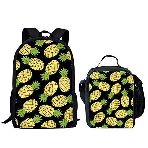 JINHUADAI Art und Weise nette Ananas Muster Kinderschultaschen + isolierte Lunchbox, Farbbezeichnung: Ananas Mittagessen Taschen Rucksack + -2.Praktische Innen Mode Mantel (Farbe: Ananas Mittagessen T