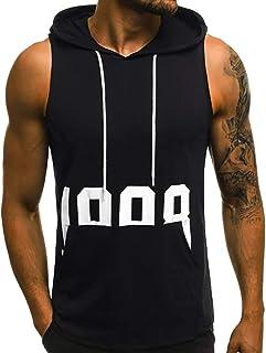 SANFASHION Men Vest Tops Hooded Sleeveless T-Shirt Camouflage Print 2021 Newest Summer Slim Fit Casual Sportswear Bodybuil...