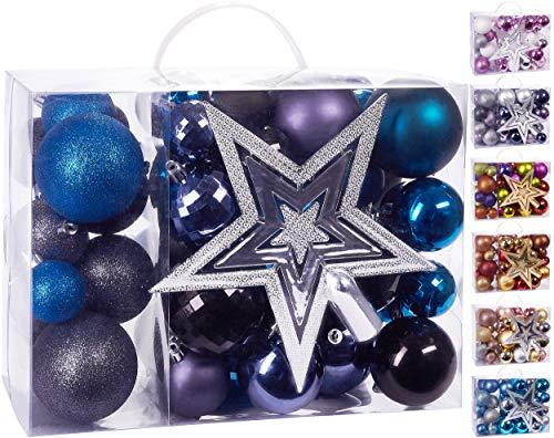 Brubaker Set di 50 Pezzi Palline di Natale con Cima d'albero - Decorazioni per L'Albero di Natale in Nero Viola e Blu