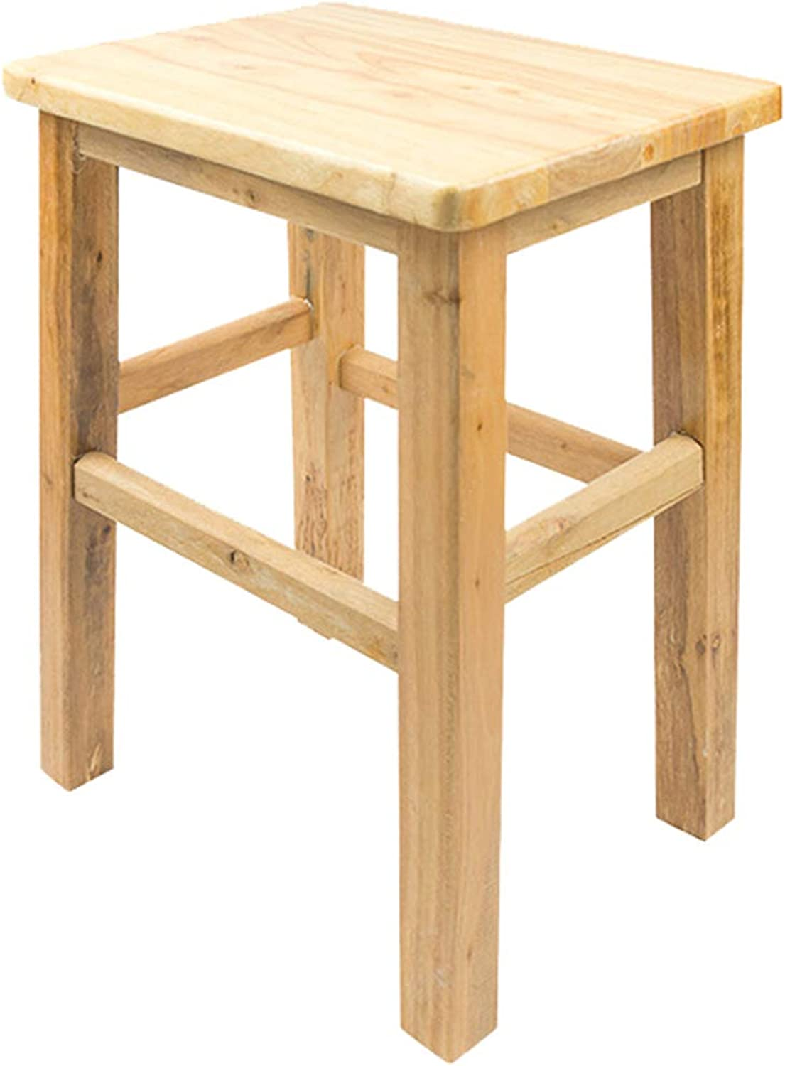 Wooden Dinning Stool,Footstool,Anti-Slip Vanity Stool,Solid Wood Meterial Stable and Durable,Great for Kitchen,Bathroom,Bedroom,Kids or Adults(34x25x44cm),Woodcolor