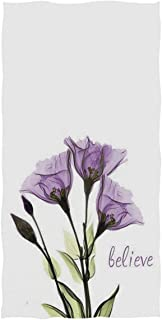Naanle Beautiful Purple Flower Giclee Print Soft Absorbent Guest Hand Towels for Bathroom, Hotel, Gym and Spa (16 x 30 Inches,White)