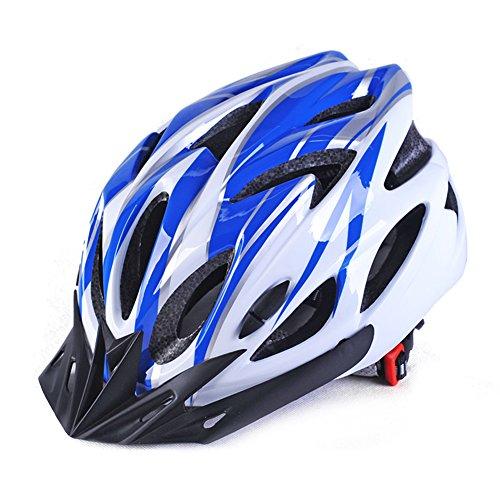 GCDN Casco de Bicicleta con Visera, Casco de Bicicleta de montaña, Casco de Bicicleta de Carretera Ajustable y Ligero para Adultos, jóvenes y niños, Color Blue+ White, tamaño Tamaño Libre