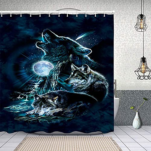 Duschvorhang, Haida Style Tierkunst Wild Eagle & Killer Dog mit Sharp Teeth Print Polyester Wasserabweisend Shower Curtain Anti-Schimmel Duschgardine, für Badewanne & Bathroom 183 cmx183 cm