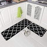 Qqkkabb Alfombrillas de Microfibra de Cocina de Dos Piezas, alfombras de balcón para el hogar, Tiras largas, Antideslizantes, absorbentes de Aceite y absorbentes de Agua 43X61 + 43X122cm Negro