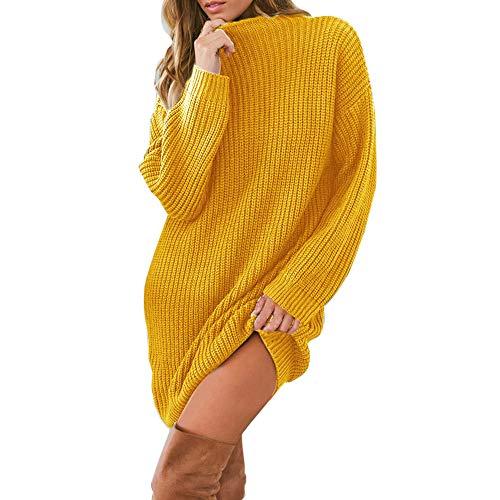 Rosennie Damen Pullover Minikleid Frauen Herbst und Winter Strickkleid Sweatshirt Langarm lose Knielangkleid Rundhals Locker Tunika T-Shirt Kleid Mode...