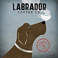 Labrador Coffee Co Ryan FowlerコーヒーSign Dogラボ動物印刷ポスター 12x12 WA-10002-UK