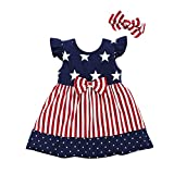 Toddler Baby Girls 4th of July Dress Red Stripe Blue White Stars Dress Sundress (2-3 Years, Red Striped Bowtie Blue Dress)