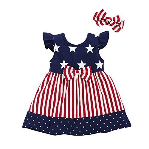 Toddler Baby Girls 4th of July Dress Red Stripe Blue White Stars Dress Sundress (12-18 Months, Red...