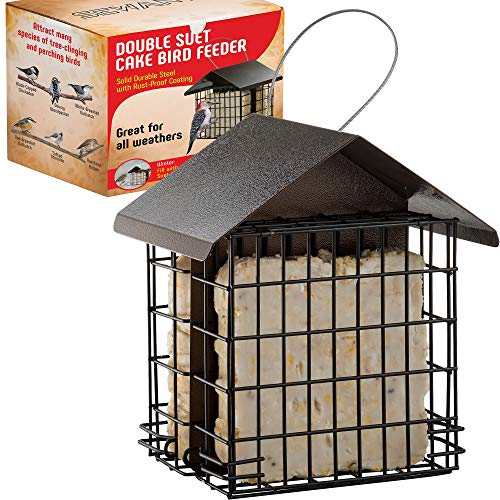 Suet Bird Feeder for Outside [Double Capacity] Suet Wild Bird Feeder with Hanging Metal Roof, Suet Feeders for Outside, for Use with Suet Cakes, Seed Cakes, Mealworm Cakes