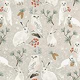 Clothworks Weihnachts-Woodland-Stoff, CLOTH127 Kaninchen