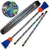 Art-Deco Flower Stick - Juego de palos de fibra (diseño de corazón de la fibra), silicona e irrompible y árbol de fibra + palos de madera)
