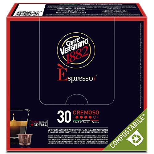 Caffè Vergnano 1882 Èspresso Capsule Caffè Compatibili Nespresso Compostabili, Cremoso - 8 confezioni da 30 capsule (totale 240)
