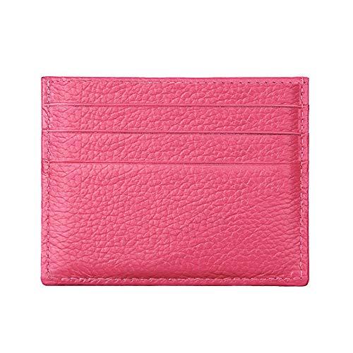 Tarjetero con protección RFID, de la marca Hibate, fino y de cuero auténtico, A1_Pink (Rosa) - D034-PIN