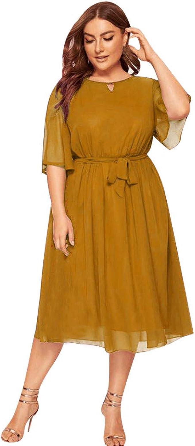 LOPILY Damen Abendkleid Große Größen Sadin Einfarbiges Cocktail Kleid Hohe  Taillen Chiffonkleid Übergrößen Festliche Kleider für Damen Große Größen ...