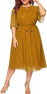 LOPILY Damen Abendkleid Große Größen Sadin Einfarbiges Cocktail Kleid Hohe Taillen Chiffonkleid Übergrößen Festliche Kleider für Damen Große Größen Elegantes Kleid für Brautmutter