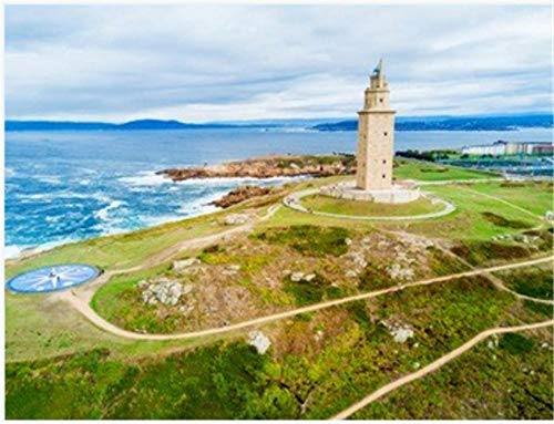 Nonebranded Puzzle Jigsaw Rompecabezas 500 Piezas Torre De Hércules O Torre De Hércules Es Un Antiguo Faro Romano En A Coruña En Galicia España Arte Bricolaje para Adultos Mayores Adultos