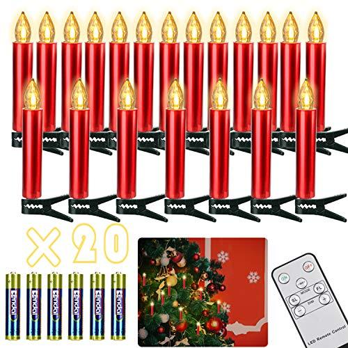 Freepower- 20 velas LED inalámbricas de color blanco cálido, velas de Navidad, velas de árbol de Navidad, regulables, velas de árbol, decoración de Navidad, bodas, cumpleaños, fiestas. [Clase energética A+]