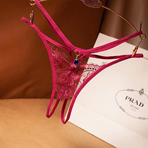 Conjuntos de lencería para mujer Corsés para mujer Encaje de lujo ligero tanga sexy para mujer correa cruzada bragas de tentación huecas ultrafinas pantalones de archivo abierto caliente-rojo