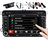 Double Din Car Stereo GPS Navigation 7 inch 2 Din Autoradio for Jetta Golf Tiguan Polo in Dash Car DVD CD Player USB SD Canbus FM AM RDS Radio Bluetooth Video Headunit with SWC Backup Camera