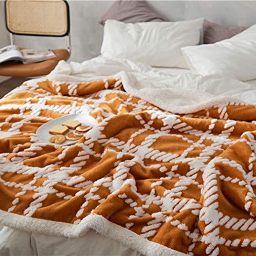 Blanket Manta de felpa gruesa y cálida de lujo, para Navidad, sofá, cama, sofá, silla, acogedora microfibra reversible (color: naranja, tamaño: 180 x 200 cm)