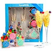 Thoughtfully Gifts, Sweet Bliss Candy and Champagne Flute Gift Set, Includes 2 Gold-Accented Champagne Flutes and Premium Gummies Candies