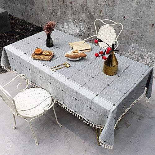 AMZERO Mantel Navidad Rectangulares Manteles Algodon Lino Antimanchas Impermeable para Mesa Rectangular de Comedor Cocina JardíN - Lino 70x110cm