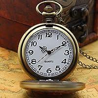 男性のための スカルと骨のクォーツ時計、懐中時計チェーン、クリスマスギフト、新年、P1414