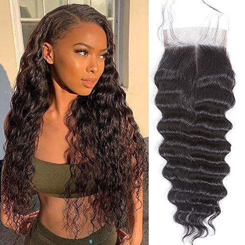QTHAIR 12A Peruvian Virgin Hair Loose Deep Wave Human Hair 100% Unprocessed Peruvian Loose Deep Wave Virgin Hair Weave Natural Black Color Human Hair Bundles (12' Closure)